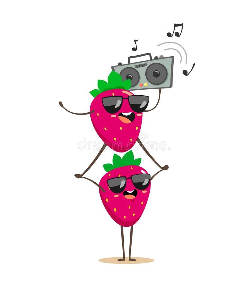 Смешные клубники поверх одина другого с танцами магнитофона и слушать к музыке Персонажи из мультфильма в стиле kawaii на бесплатная иллюстрация