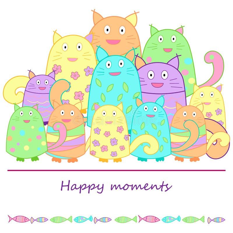 Смешные коты с рыбами иллюстрация вектора
