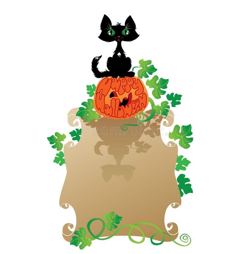 Смешные кот и тыква Halloween иллюстрация штока