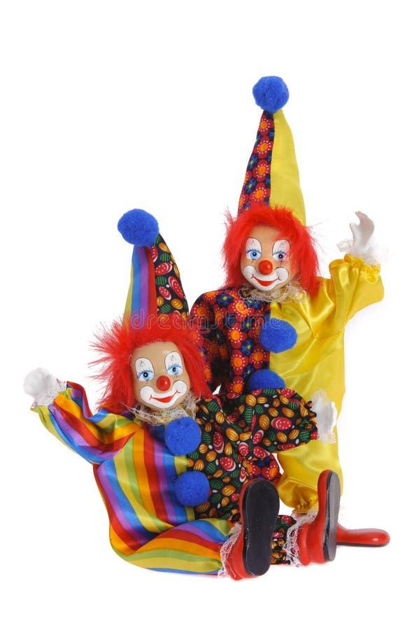 Смешные клоуны с красочным костюмом стоковая фотография rf