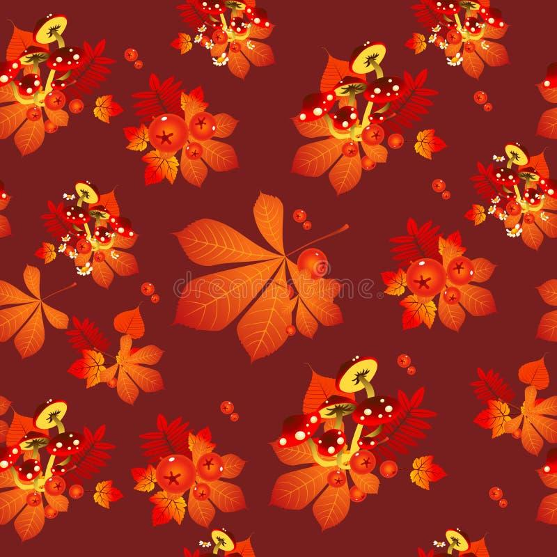 Смешные листья осени каштан текстуры, листья рябины и несъедобные грибы Эскиз для карточки, безшовная текстура для бесплатная иллюстрация