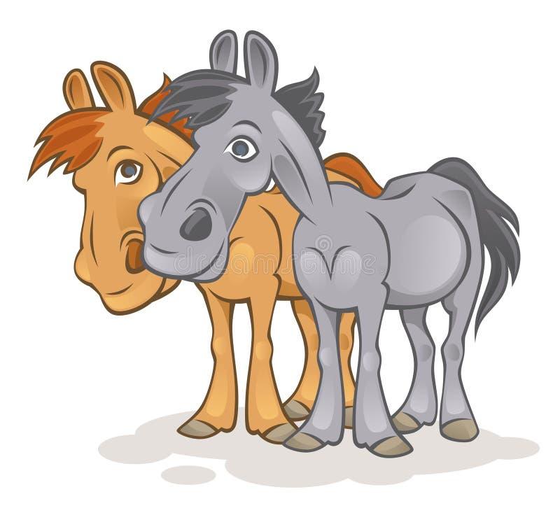 смешные лошади иллюстрация вектора