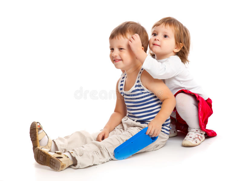 Смешные малыши в студии стоковое фото rf