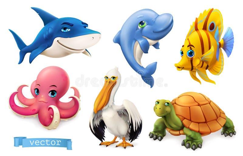 Смешные морские животные и рыбы комплект значка вектора 3d бесплатная иллюстрация