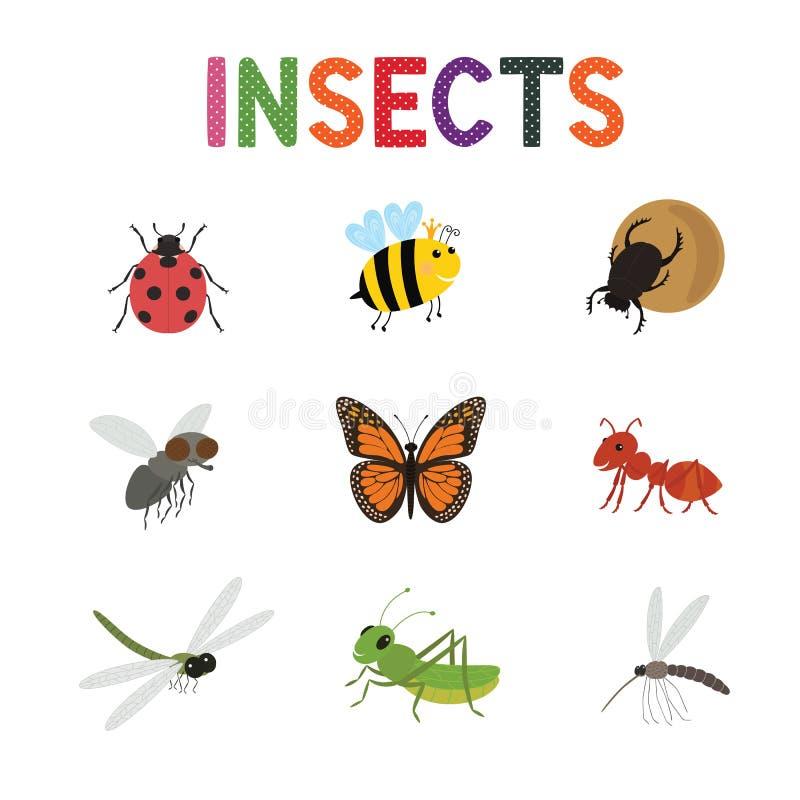 Смешные насекомые, милый шарж прослушивают комплект вектора Покрашенные бабочка и ladybird пчелы насекомых, иллюстрация штока