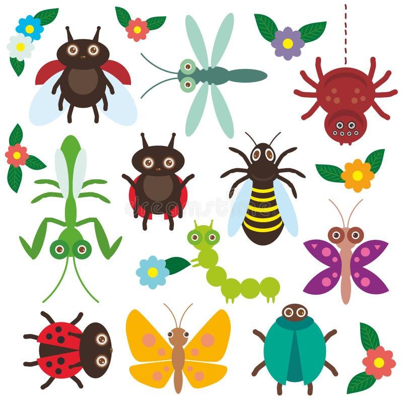 Смешные насекомые установили гусеницу бабочки паука бесплатная иллюстрация
