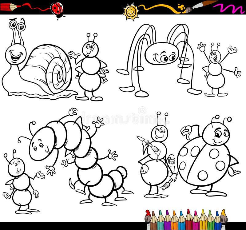 Смешные насекомые установленные для книжка-раскраски иллюстрация штока