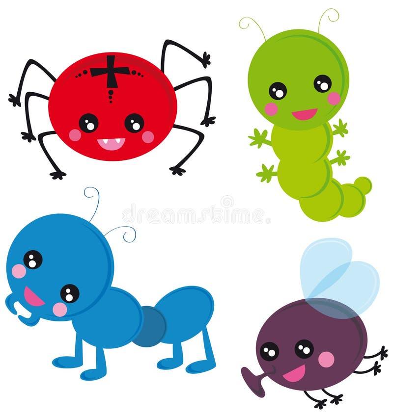 смешные насекомые иллюстрация вектора