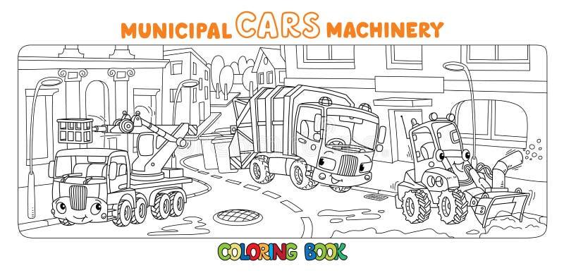 Смешные небольшие муниципальные автомобили с книжка-раскраской глаз иллюстрация штока
