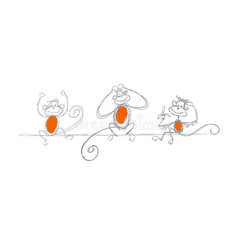 Смешные обезьяны, эскиз для вашего дизайна иллюстрация штока