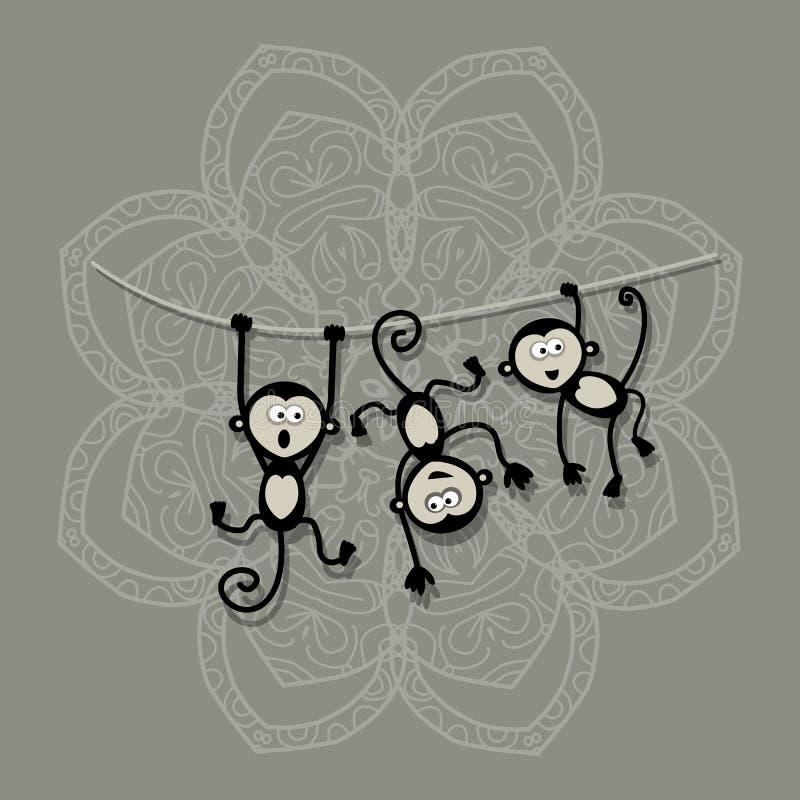 Смешные обезьяны для вашего дизайна Символ 2016 год иллюстрация вектора