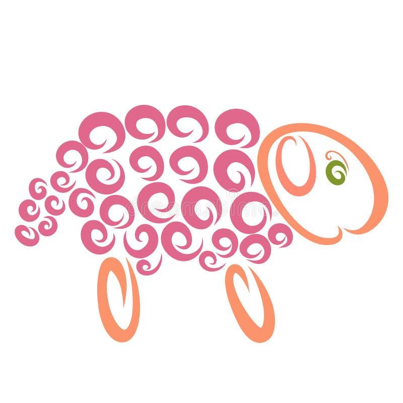 Смешные овцы с розовыми скручиваемостями, творческая картина иллюстрация вектора