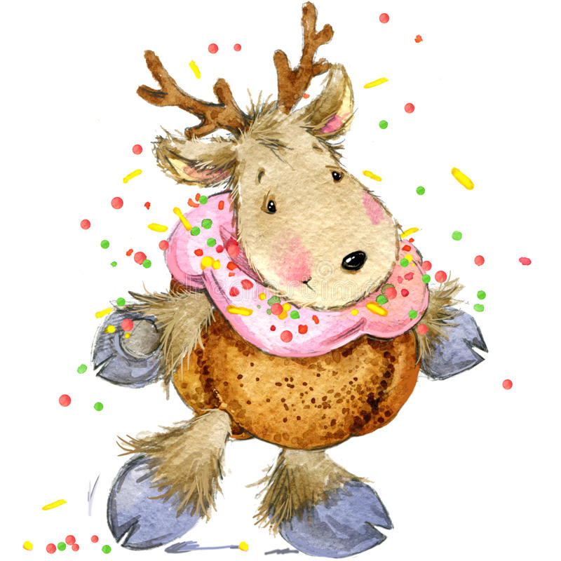 Новогодние акварельные открытки олень
