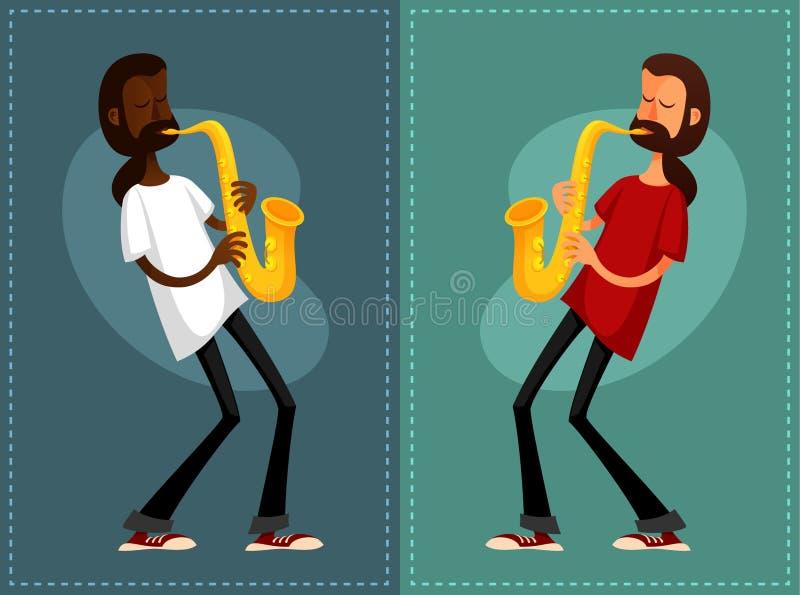 Смешные парни шаржа играя саксофон иллюстрация вектора