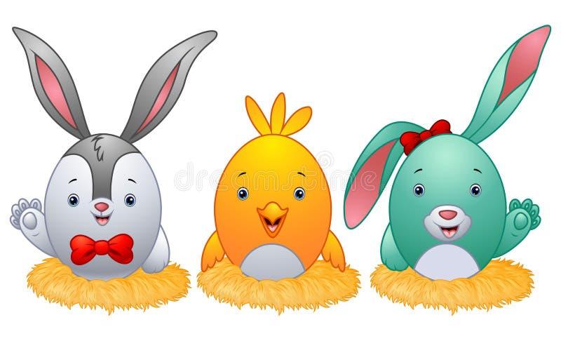Смешные пасхальные яйца с ушами кролика в гнезде иллюстрация вектора