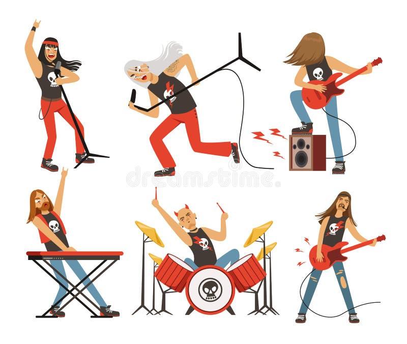 Смешные персонажи из мультфильма в рок-группе Музыкант в известной группе шипучки Комплект талисмана вектора бесплатная иллюстрация