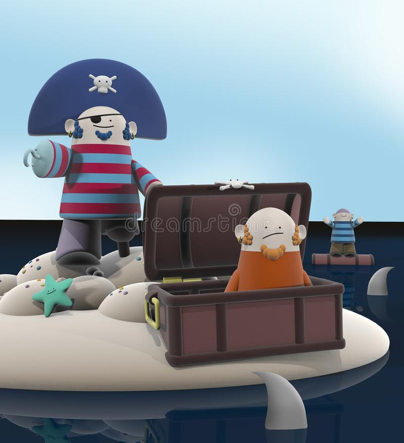 Смешные пираты шаржа, который 3D сели на мель на острове бесплатная иллюстрация