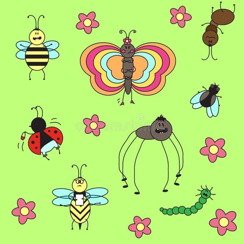 Смешные различные насекомые иллюстрация штока