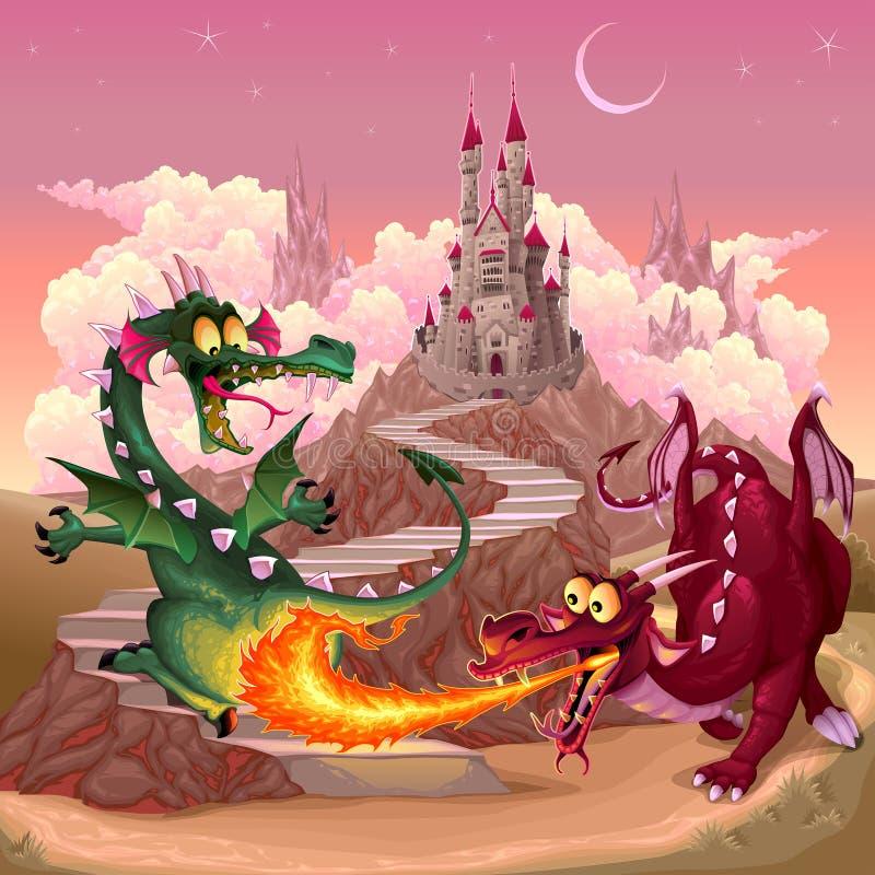 Смешные драконы в ландшафте фантазии с замком иллюстрация штока