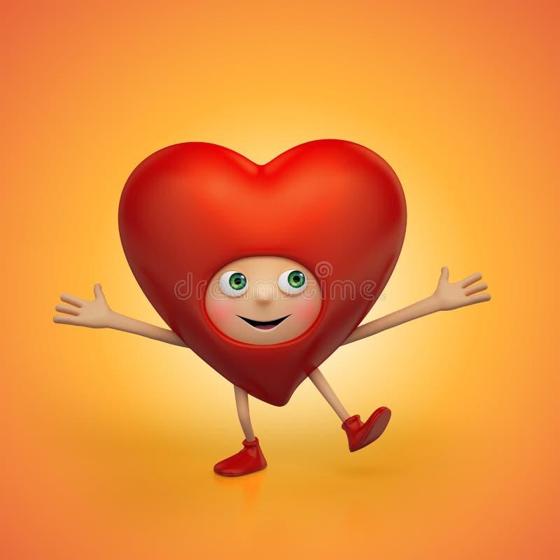 Смешные счастливые красные танцы шаржа сердца Валентайн иллюстрация вектора