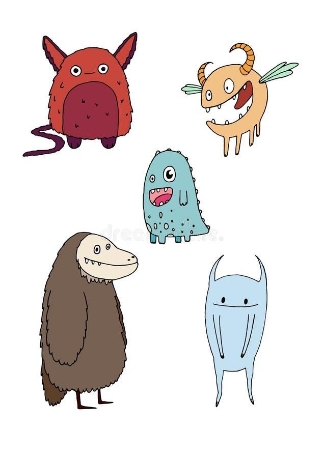 Смешные счастливые чудовища doodle мультфильма вручают притяжку иллюстрация штока