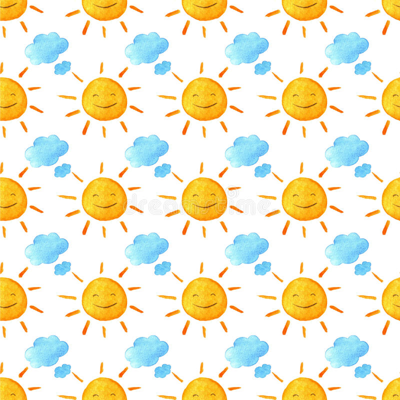 Смешные счастливые усмехаясь солнца и облака Яркая красивая картина шаржа Handpainted иллюстрация акварели Изолировано на белизне иллюстрация штока