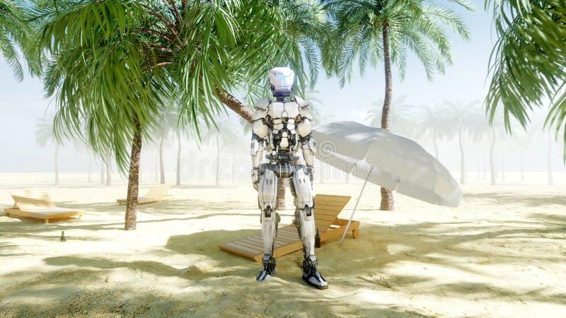 Смешные танцы робота на солнечном взморье Концепция туризма и остатков перевод 3d иллюстрация штока