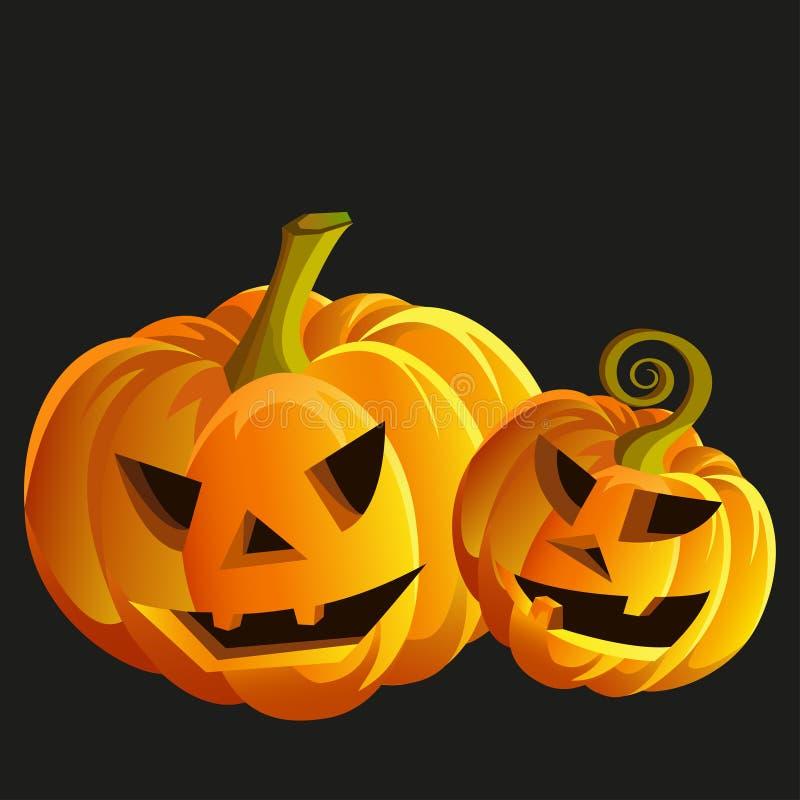 Смешные тыквы хеллоуина иллюстрация штока