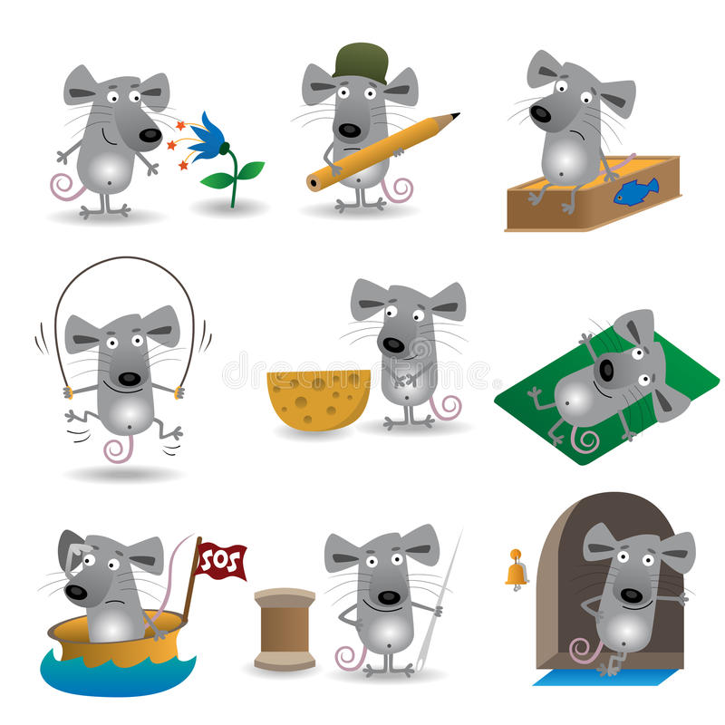 смешные установленные мыши иллюстрация вектора
