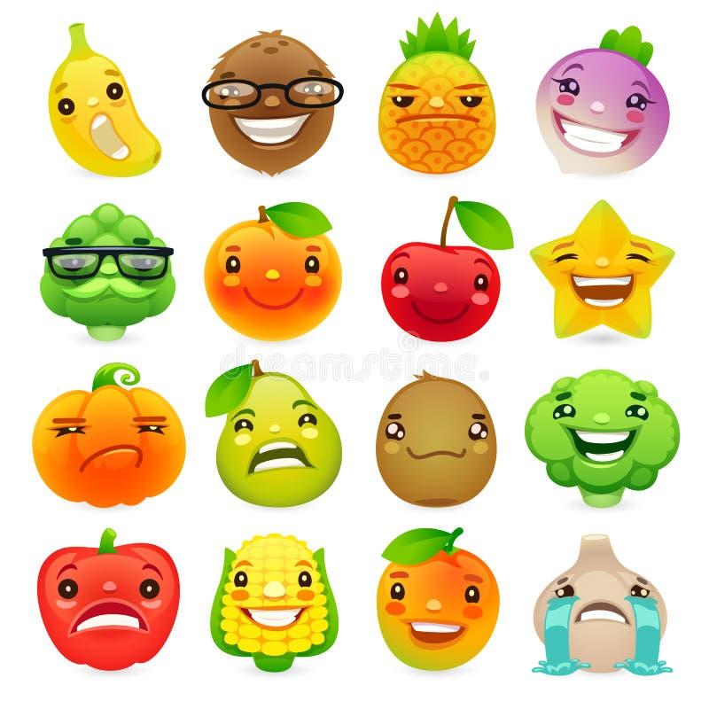 Смешные фрукты и овощи шаржа с различными эмоциями Set2 иллюстрация штока