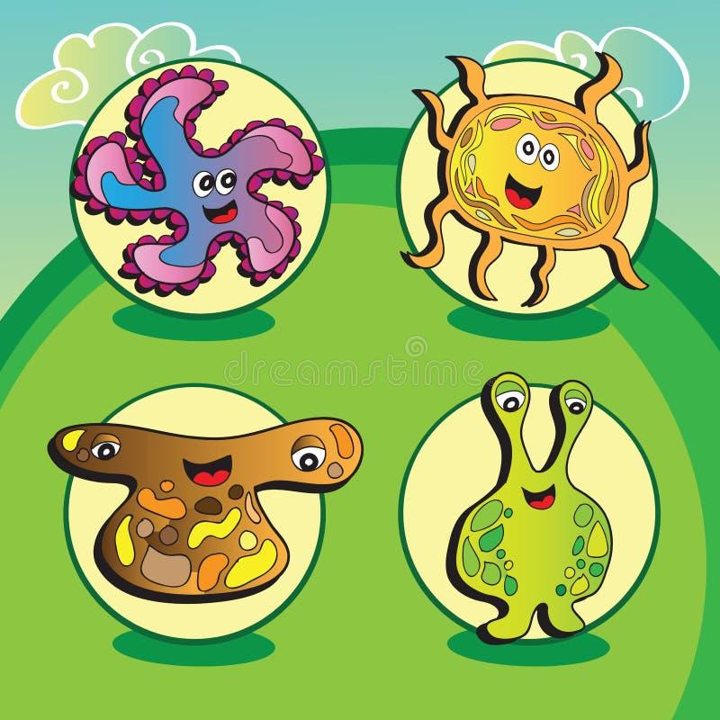 Смешные характеры вектора - комплект 4 элементов иллюстрация вектора