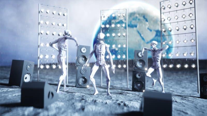 Смешные чужеземцы танцуя на луне Концепция UFO Земля на предпосылке Партия космоса перевод 3d бесплатная иллюстрация