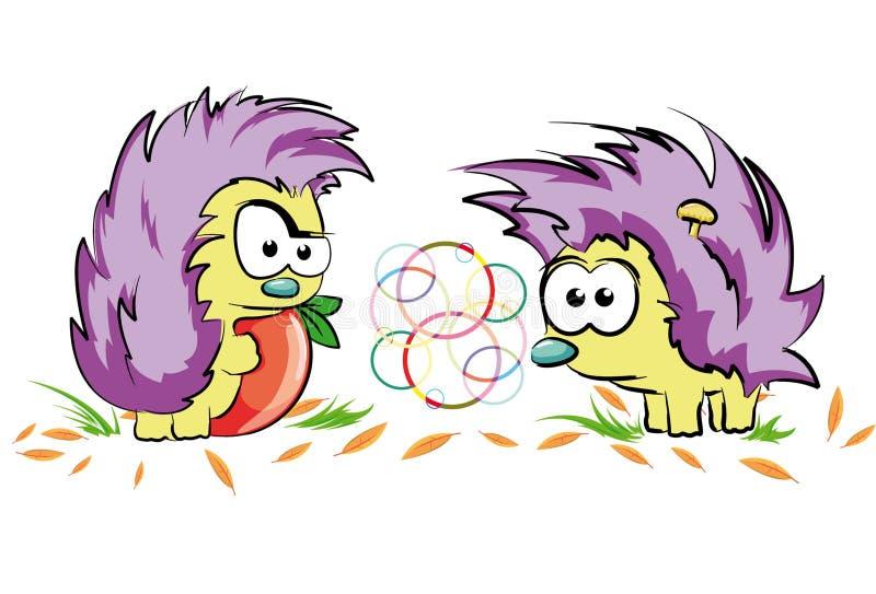 смешные hedgehogs иллюстрация штока