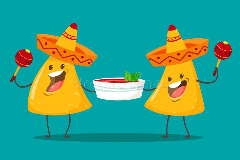 Смешные Nachos характеров с соусом сальсы томата Славная мексиканская кухня Обломоки Nachos в sombreros и шляпах maracas r иллюстрация вектора