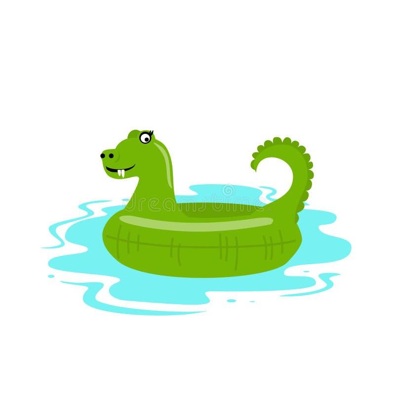 Смешным иллюстрация вектора крокодила раздувным изолированная поплавком бесплатная иллюстрация
