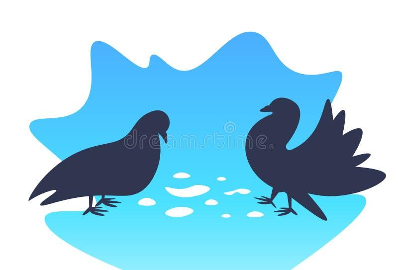 2 смешных голубя идя и есть птиц мультфильма зерен плоско горизонтальных иллюстрация штока