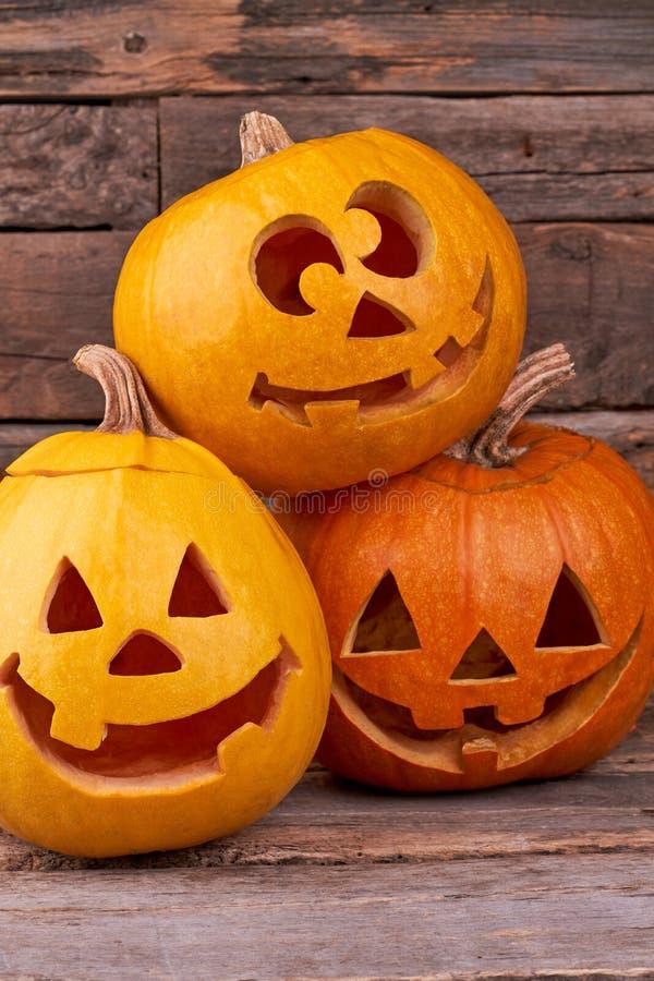 3 смешных тыквы хеллоуина стоковое изображение