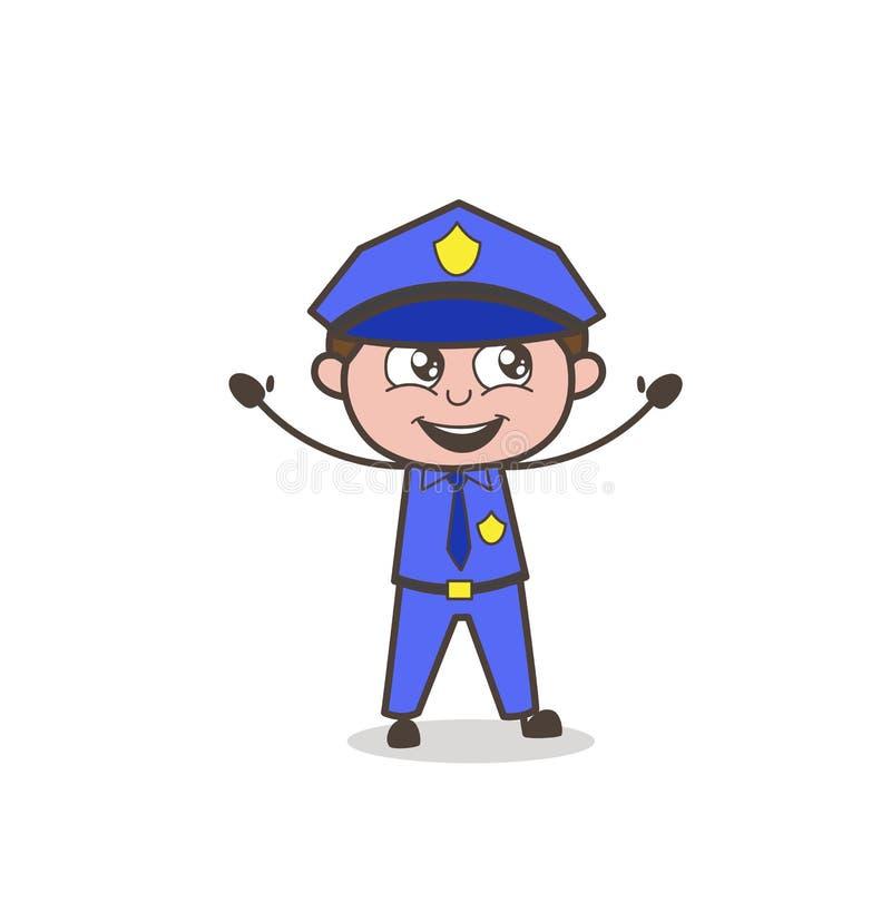 Смеясь над офицер на иллюстрации вектора успеха бесплатная иллюстрация