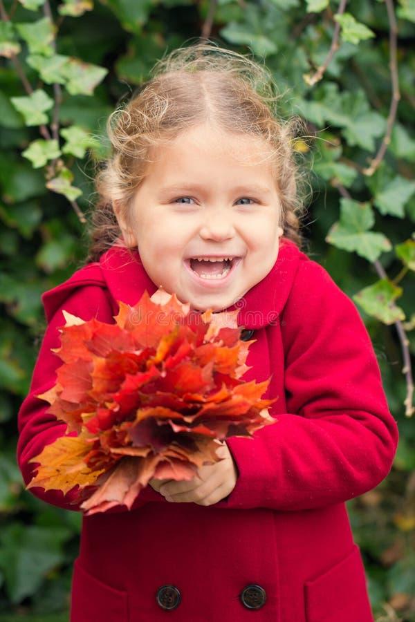 Смеясь над ребенок держит букет листьев осени стоковая фотография rf