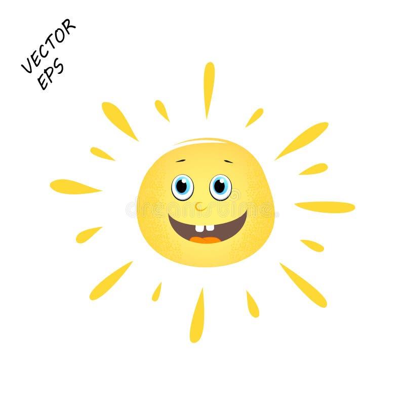 Смеясь над солнце вектора на изолированной предпосылке Чертеж ` s ребенка смеясь над стороны Солнце концепция лета, остатков бесплатная иллюстрация