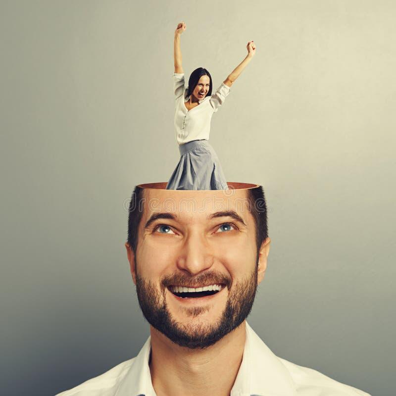 Смеясь над бизнесмен и счастливая женщина стоковые изображения rf