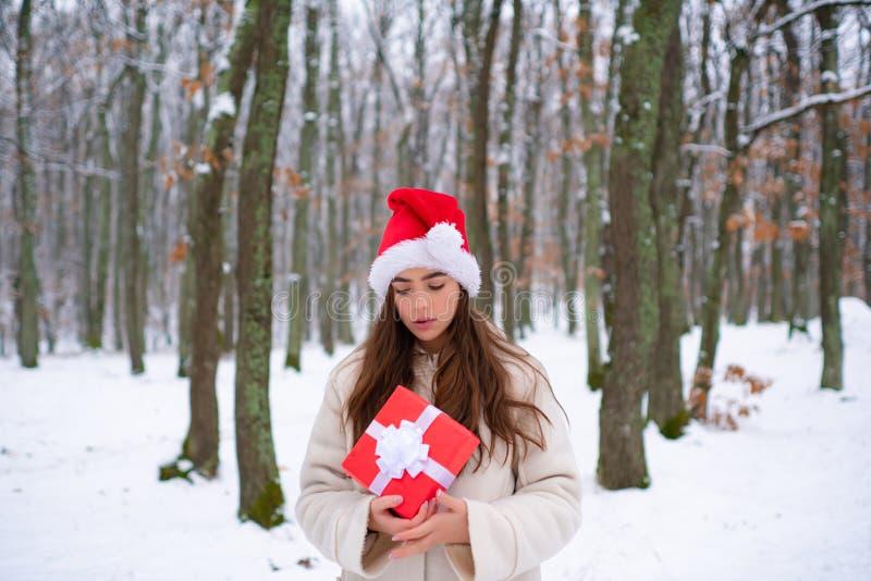 Смеясь Outdoors девушки Внешний портрет женщины детенышей довольно красивой в холодной солнечной погоде зимы в парке стоковое фото