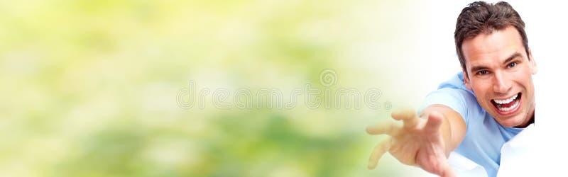 Смеяться над стороны человека счастливый стоковое фото rf