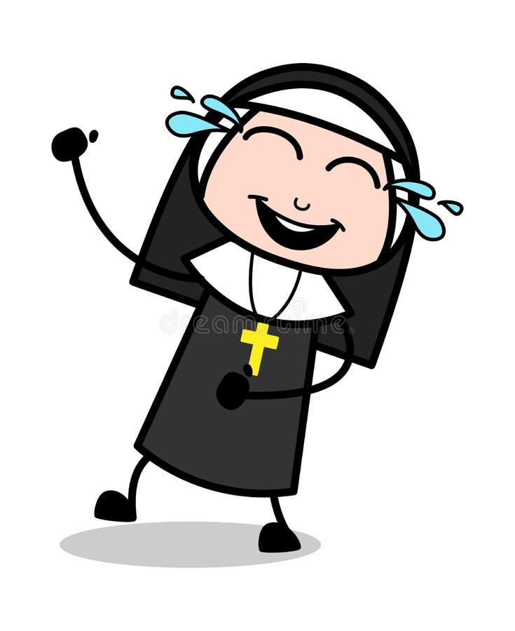 Смеяться на шутке - даме Векторе Иллюстрации монашки мультфильма иллюстрация вектора