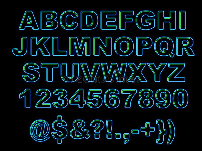 Смелейший неоновый алфавит стоковое фото rf