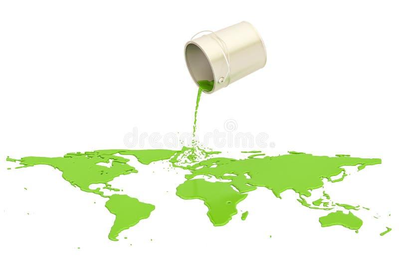 Смогите при зеленая краска разлитая на земле карты, перевод 3D иллюстрация штока
