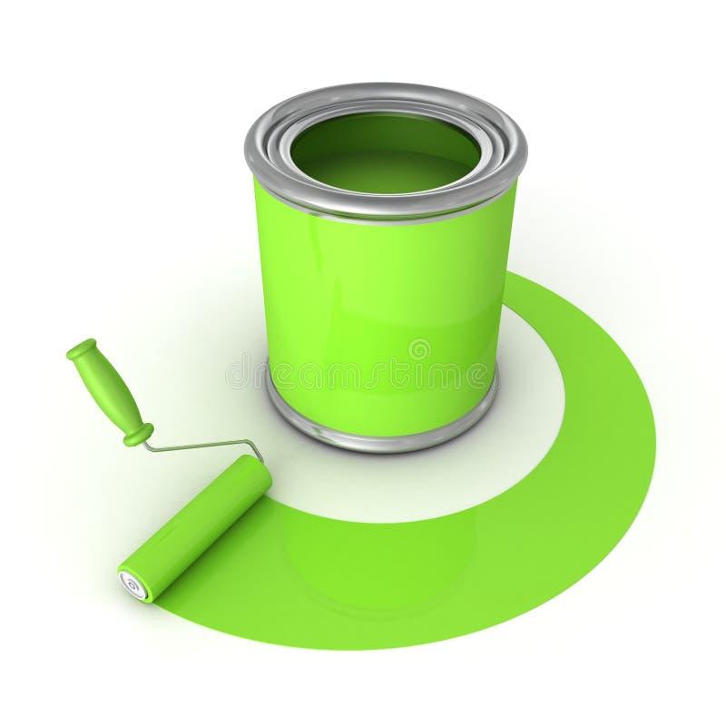Смогите с зеленой щеткой краски и ролика иллюстрация штока