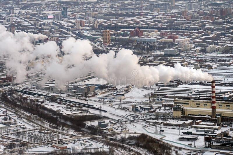 смог в европейском городе, вид с воздуха, стоковое фото rf