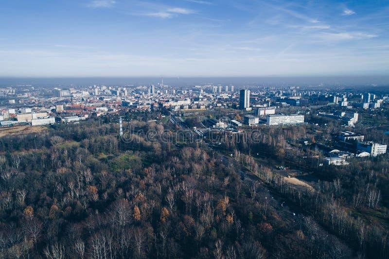 Смог и загрязнение воздуха в Катовице стоковое фото rf