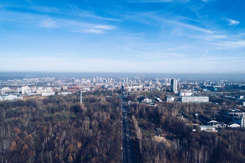 Смог и загрязнение воздуха в Катовице стоковое изображение